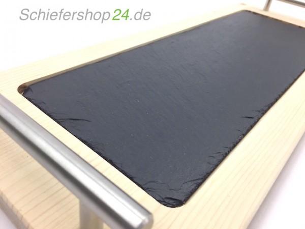 Schieferplatte mit Holzbrett aus Fichte 20 x 50 cm