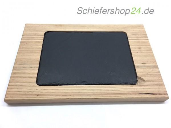 Schieferplatte mit Holzbrett aus Buche 20 x 30 cm