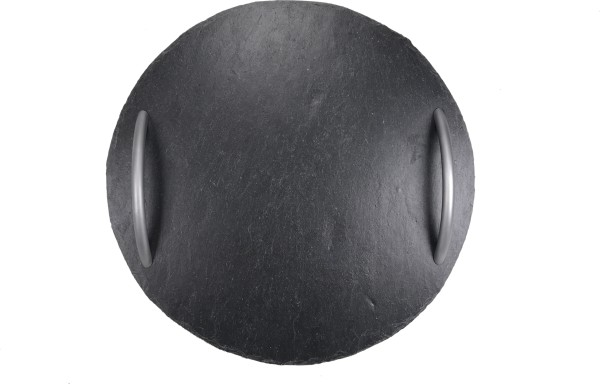 Schieferplatte Ø 57 cm, Rund mit Griffen