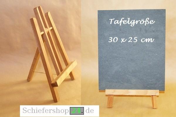 Schiefertafel 25 x 30 cm mit Holz-Staffelei