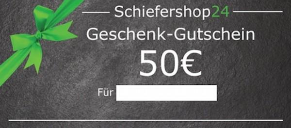 Schiefershop24 Geschenkgutschein 50 Euro Vorderseite