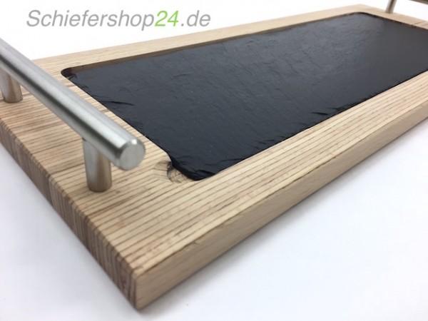 Schieferplatte mit Holzbrett aus Buche 20 x 50 cm