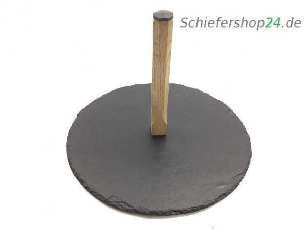 Schieferplatte Winzerteller mit Holzgriff Ø 25cm