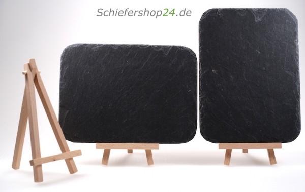Schiefertafel 14,5 x 20 cm mit Holz-Staffelei