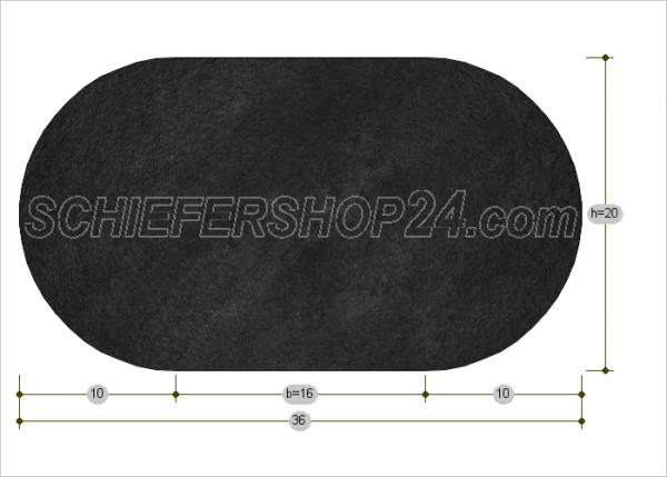 Schieferplatte Sondermaß Oval