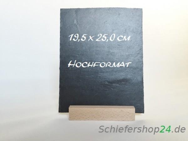 Schiefertafel 195 x 250 mm mit Holzsockel