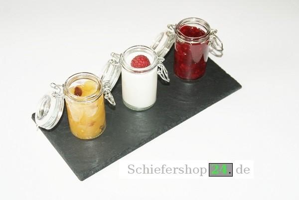 Schieferplatte als Anstell-,Dessert-Platte 14,5 x 30 cm