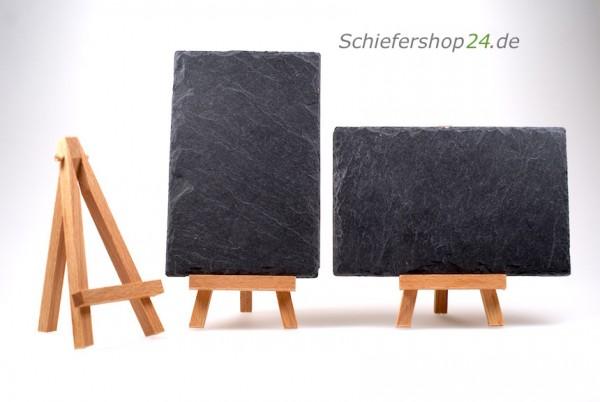 Schiefertafel 14,5 x 9,5 cm mit Holz-Staffelei