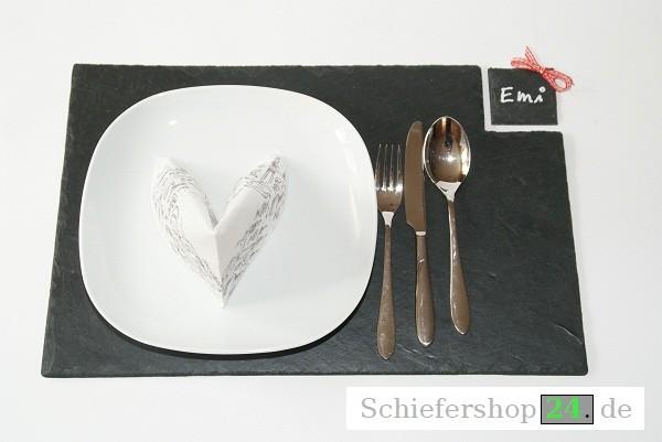 Schieferplatte Platzteller 30 x 45 cm + Tischkärtchen