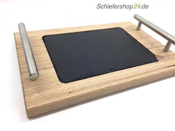 Holzbrett aus Buche mit Schieferplatte 20 x 30 cm