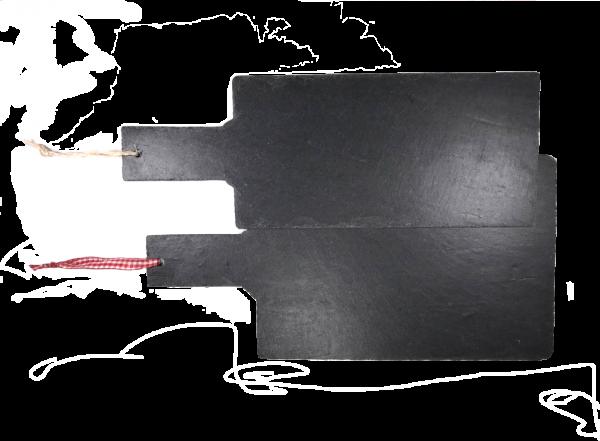 Schieferplatte als Wandtafel oder Servierplatte mit Griff