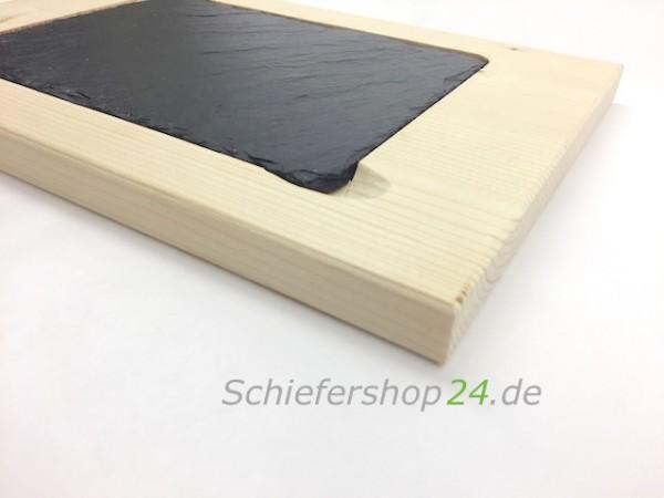 Schieferplatte mit Holzbrett aus Fichte 20 x 30 cm