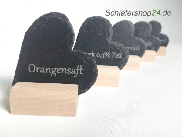 Schieferherz mit Holzsockel 3 er Set