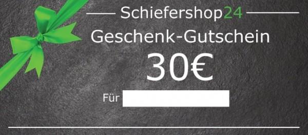 Schiefershop24 Geschenkgutschein 30 Euro Vorderseite