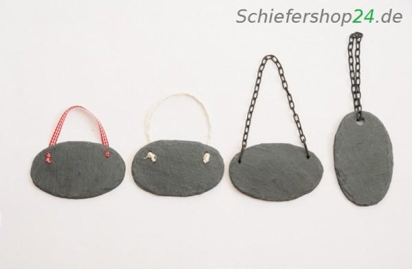 Schieferplatte /ovaler Geschenkanhänger 6 x 10 cm